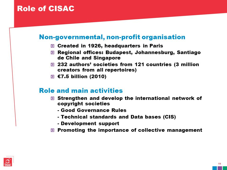 11 Role of CISAC Non-governmental, non-profit organisation Created in 1926, headquarters in Paris Regional offices: Budapest, Johannesburg, Santiago d