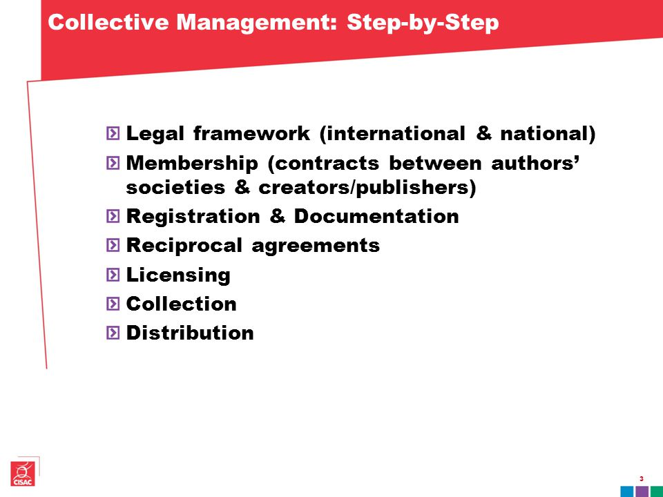 Collective Management: Step-by-Step Legal framework (international & national) Membership (contracts between authors' societies & creators/publishers) Registration & Documentation Reciprocal agreements Licensing Collection Distribution 3