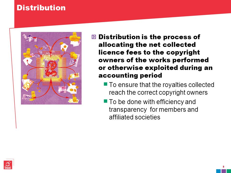 Distribution Distribution is the process of allocating the net collected licence fees to the copyright owners of the works performed or otherwise exploited during an accounting period To ensure that the royalties collected reach the correct copyright owners To be done with efficiency and transparency for members and affiliated societies 8
