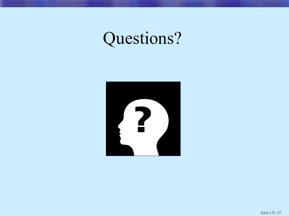 SAA 1-03 -33 Questions