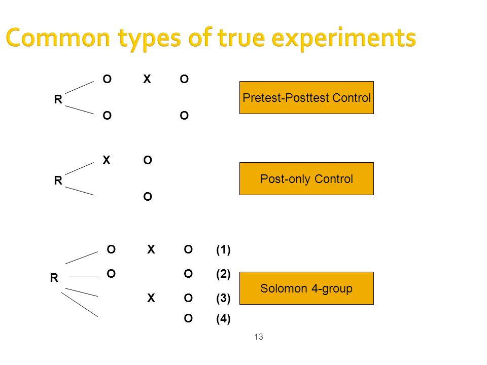 13 Common types of true experiments R O O XO O R X O O Pretest-Posttest Control Post-only Control R O O XO O (1) (2) XO(3) O(4) Solomon 4-group