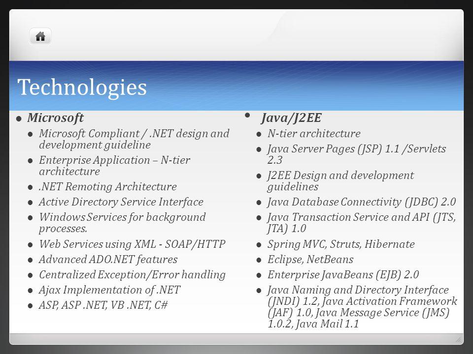 Technologies Microsoft Microsoft Compliant /.NET design and development guideline Enterprise Application – N-tier architecture.NET Remoting Architectu