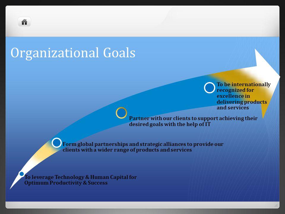 Organizational Goals To leverage Technology & Human Capital for Optimum Productivity & Success Form global partnerships and strategic alliances to pro