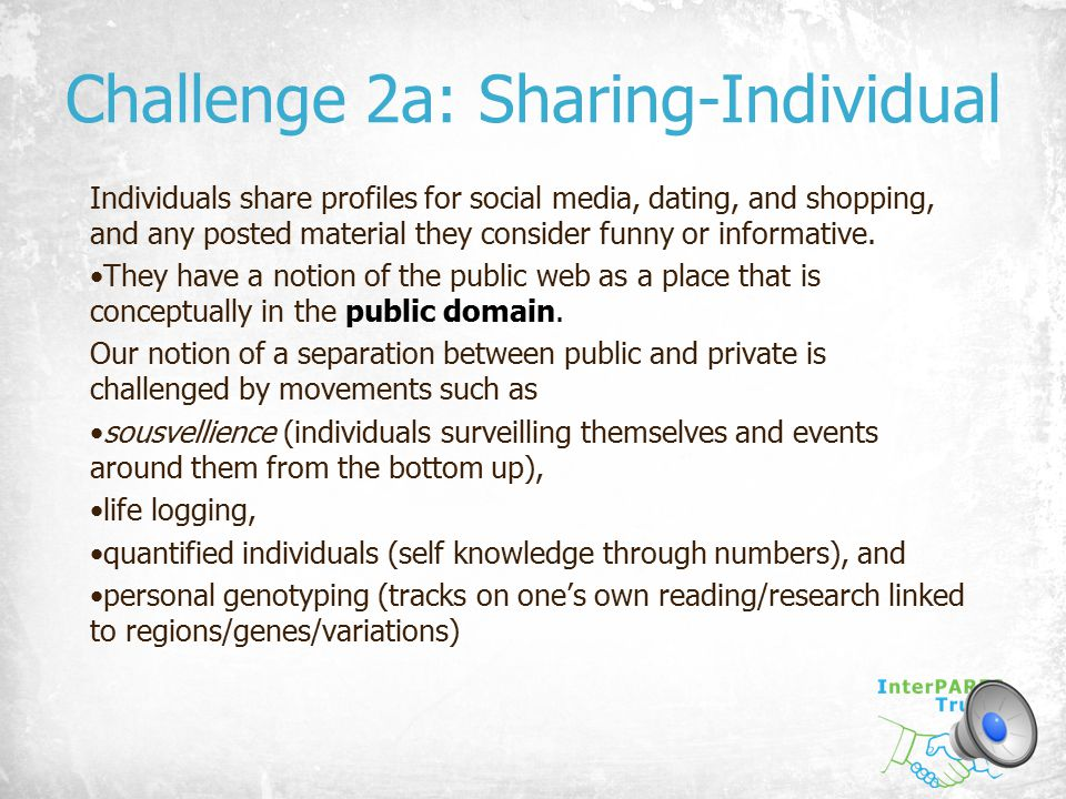 Challenge 2a: Sharing-Individual Individuals share profiles for social media, dating, and shopping, and any posted material they consider funny or inf