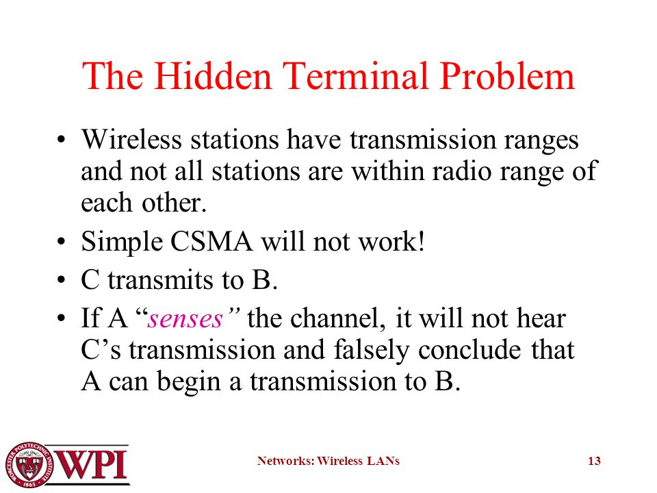 Networks: Wireless LANs13 The Hidden Terminal Problem Wireless stations have transmission ranges and not all stations are within radio range of each other.