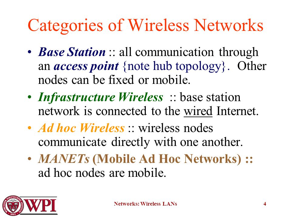 Networks: Wireless LANs4 Categories of Wireless Networks Base Station :: all communication through an access point {note hub topology}.