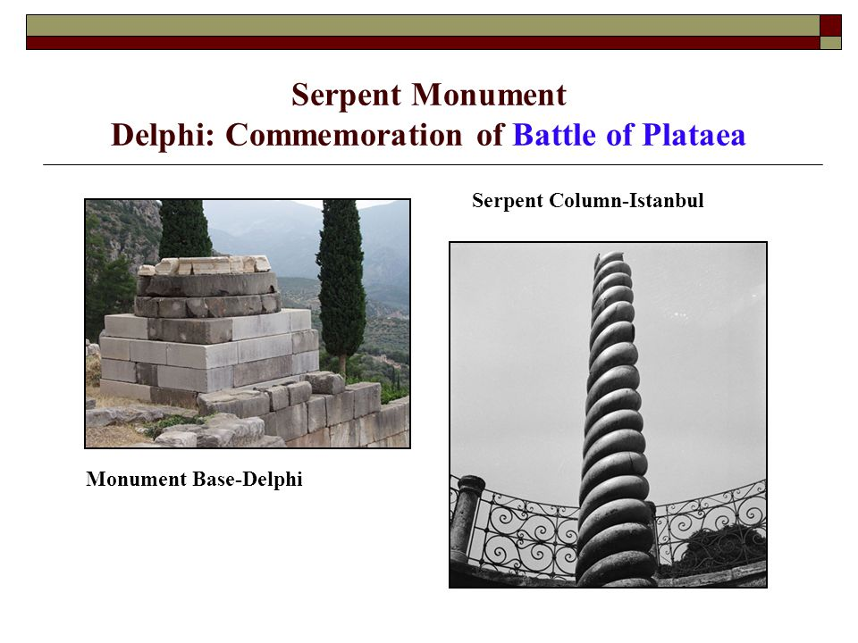 Serpent Monument Delphi: Commemoration of Battle of Plataea Monument Base-Delphi Serpent Column-Istanbul