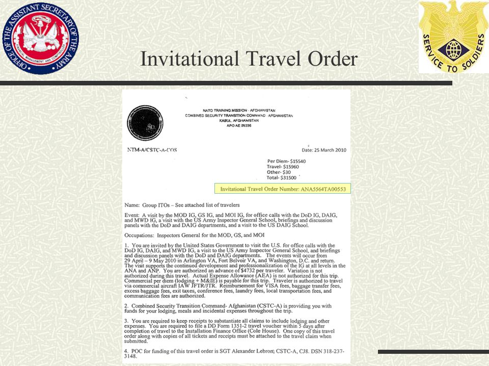 Invitational Travel Order
