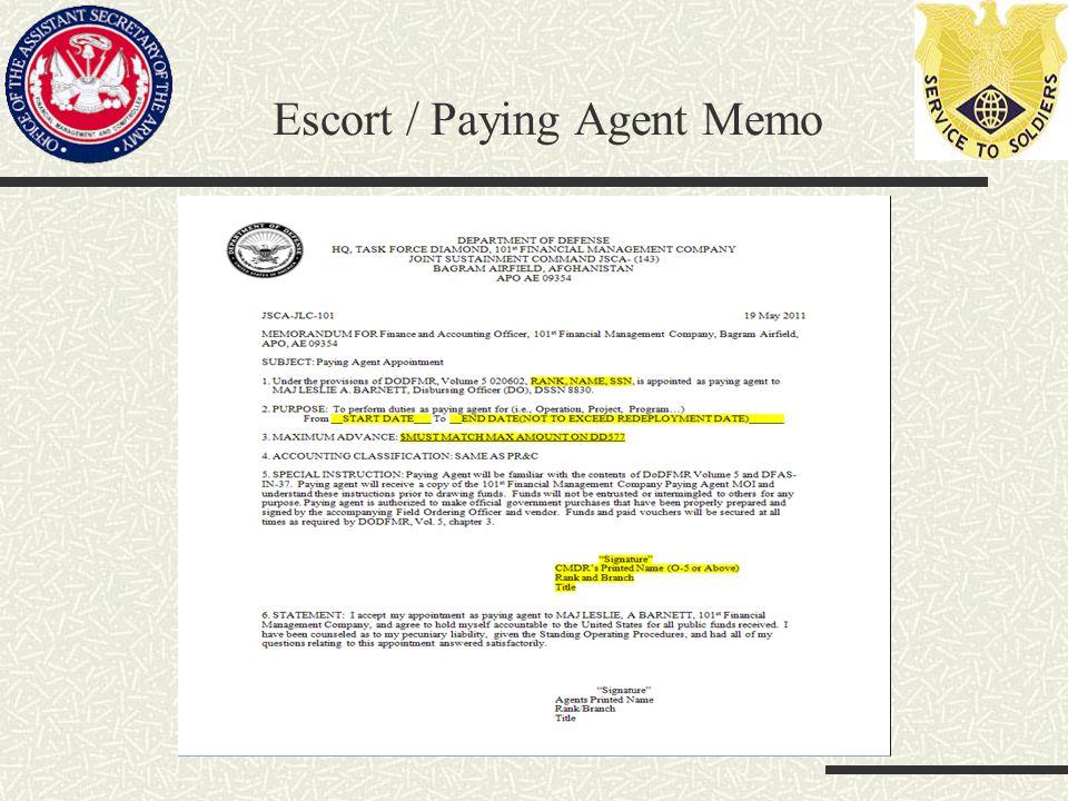 Escort / Paying Agent Memo