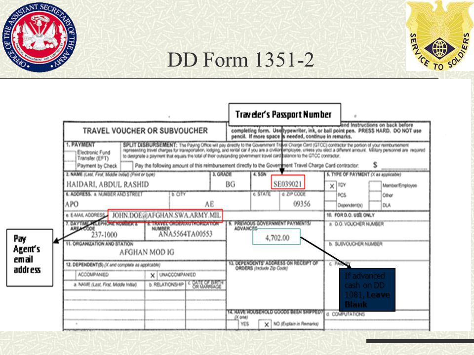 DD Form 1351-2 If advanced cash on DD 1081, Leave Blank