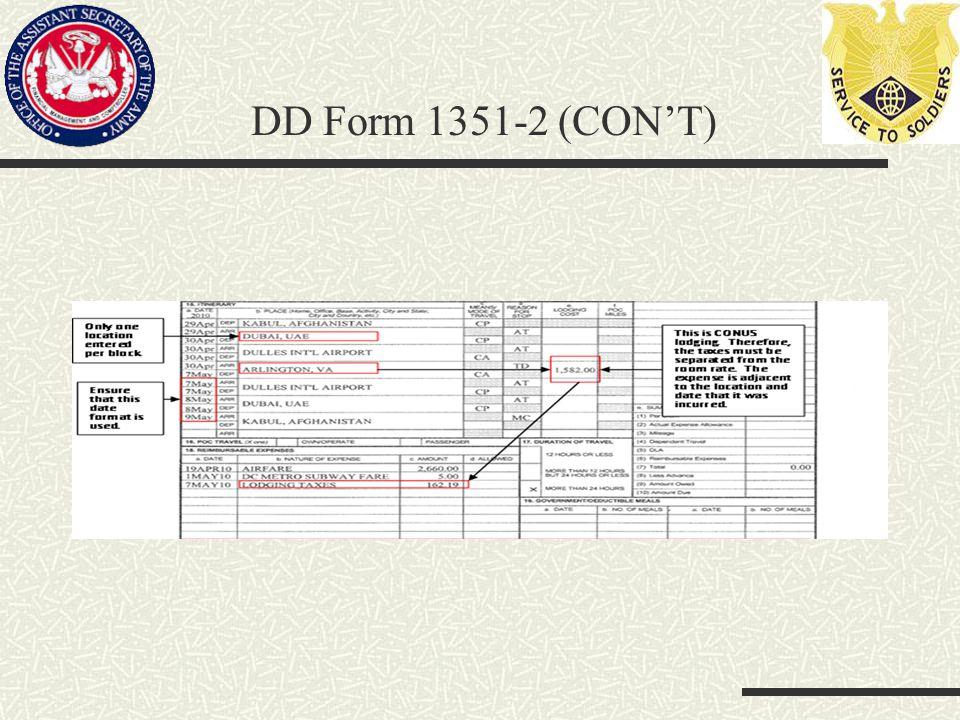 DD Form 1351-2 (CON'T)