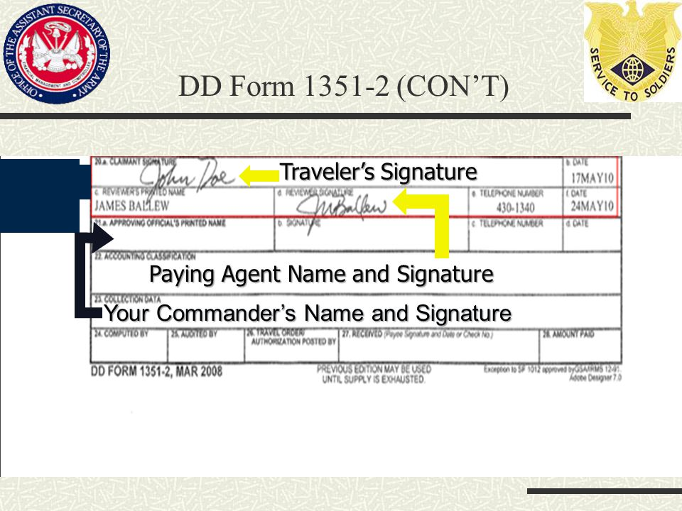 Traveler's Signature Paying Agent Name and Signature Your Commander's Name and Signature DD Form 1351-2 (CON'T)