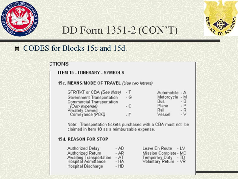 CODES for Blocks 15c and 15d. DD Form 1351-2 (CON'T)