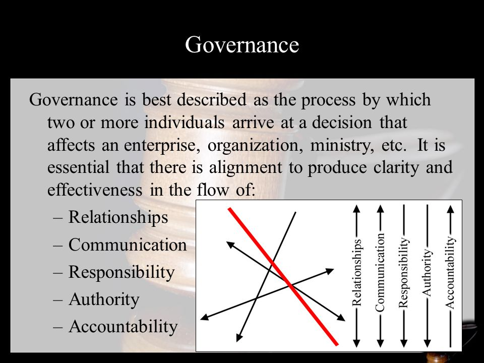 Governance Governance is best described as the process by which two or more individuals arrive at a decision that affects an enterprise, organization, ministry, etc.