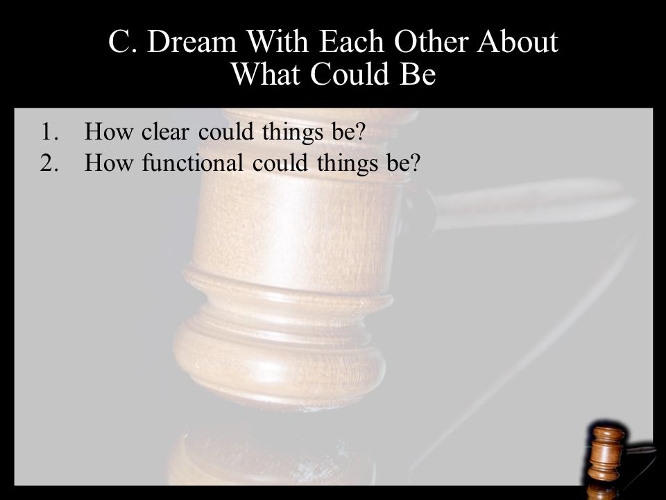 C. Dream With Each Other About What Could Be 1.How clear could things be.
