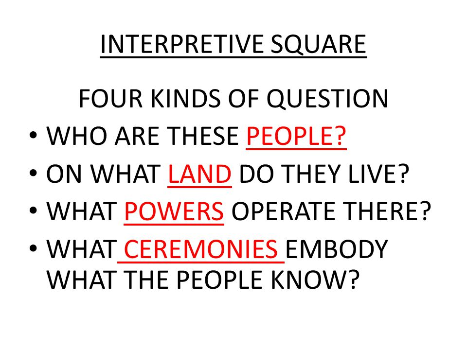 INTERPRETIVE SQUARE FOUR KINDS OF QUESTION WHO ARE THESE PEOPLE? ON WHAT LAND DO THEY LIVE? WHAT POWERS OPERATE THERE? WHAT CEREMONIES EMBODY WHAT THE