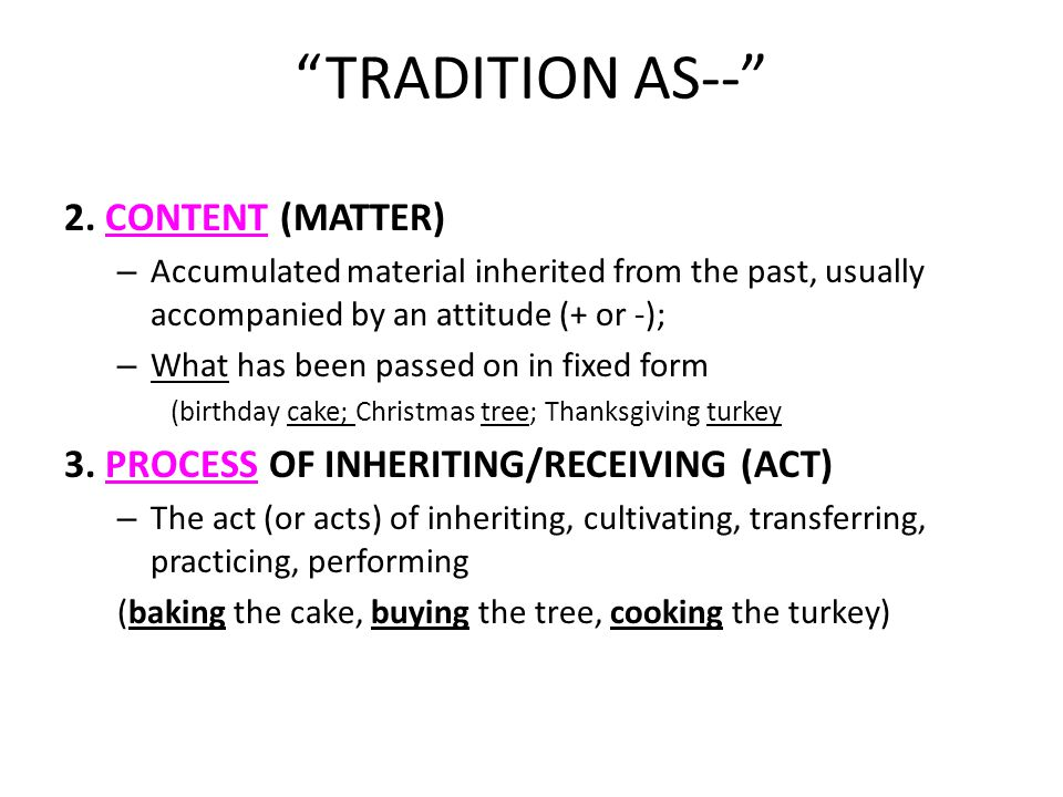 TRADITION AS-- 2.