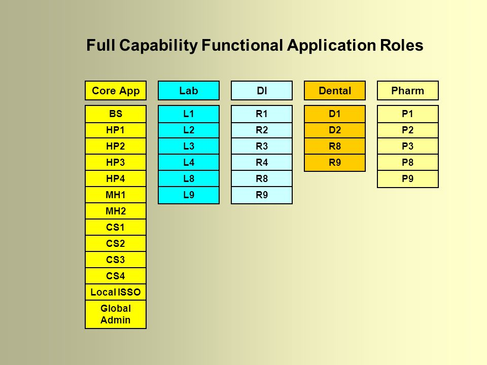 Core AppLabDIDental Full Capability Functional Application Roles HP1 HP2 HP3 HP4 MH1 MH2 CS1 CS2 CS3 CS4 Local ISSO Global Admin BS L2 L3 L4 L8 L9 L1 R2 R3 R4 R8 R9 R1 D2 R8 R9 D1 Pharm P2 P3 P8 P9 P1