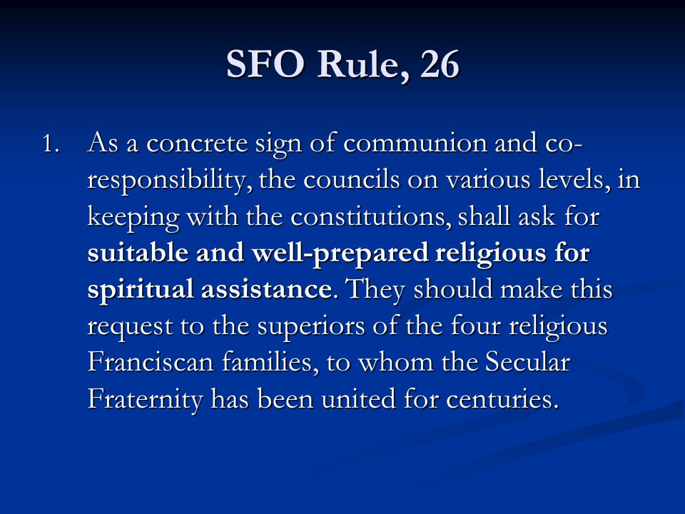 SFO Rule, 26 1.