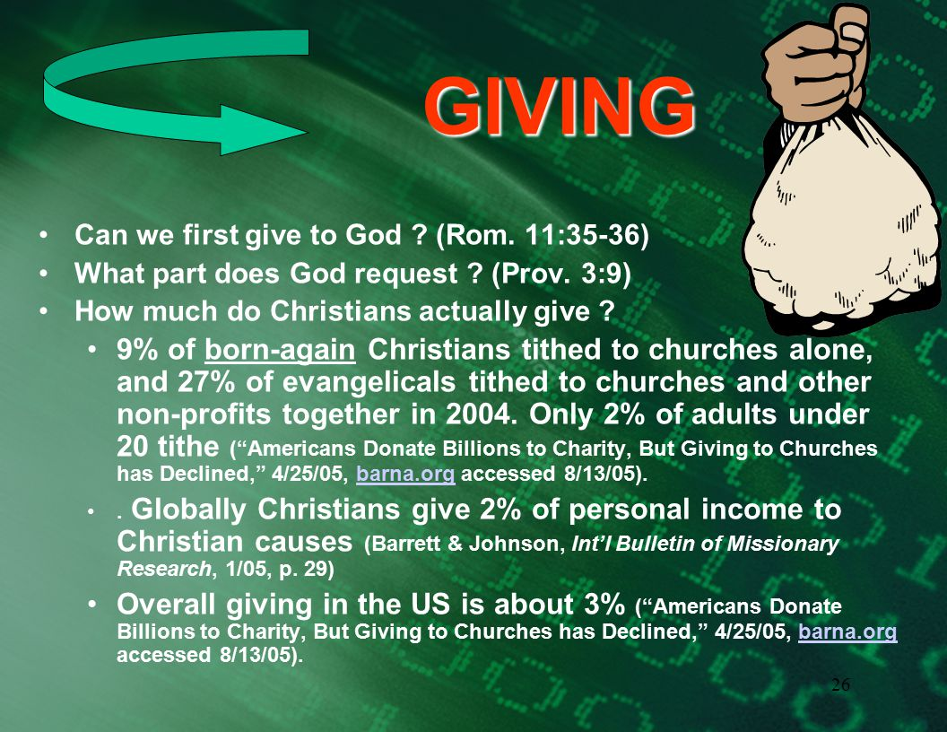 25 GIVING How much. Generosity is commanded of the rich in the NT (1 Tim.