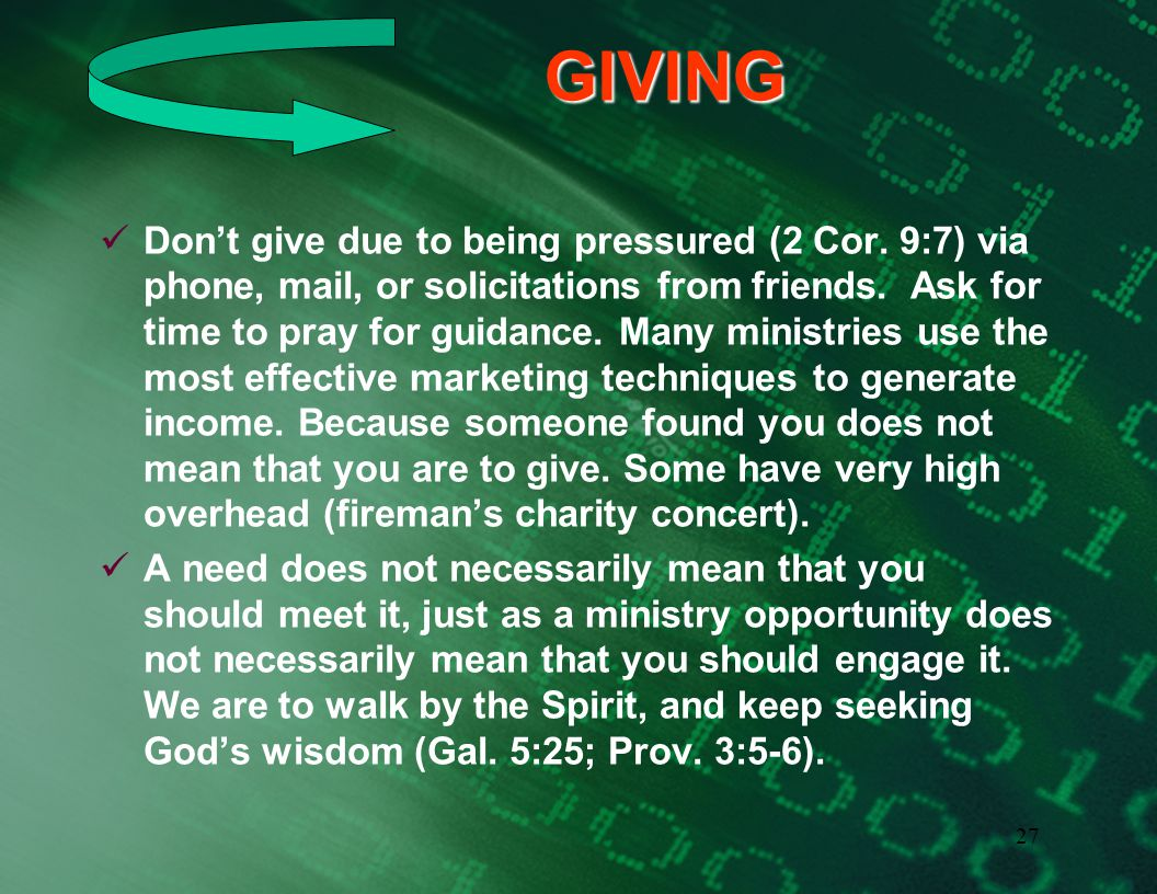 26GIVING Can we first give to God . (Rom. 11:35-36) What part does God request .