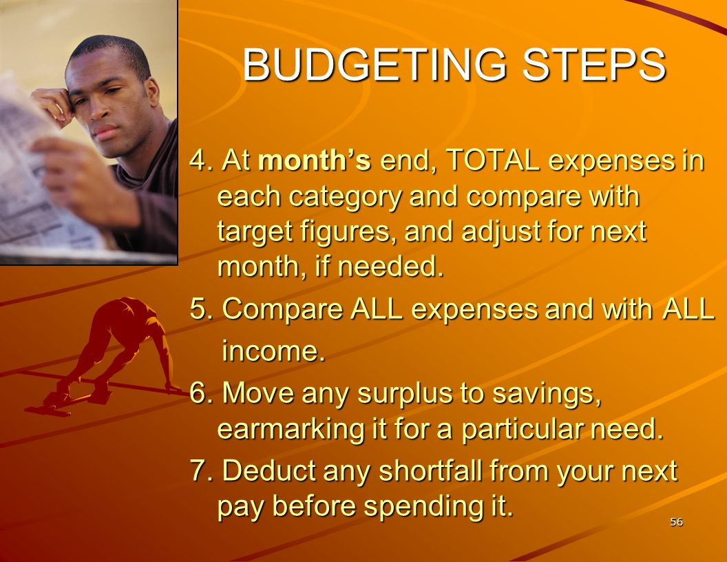 55 HOW TO BUDGET-- 7 STEPS 1. Pray for wisdom (James 1:5) and for self- control (Galatians 5:23).