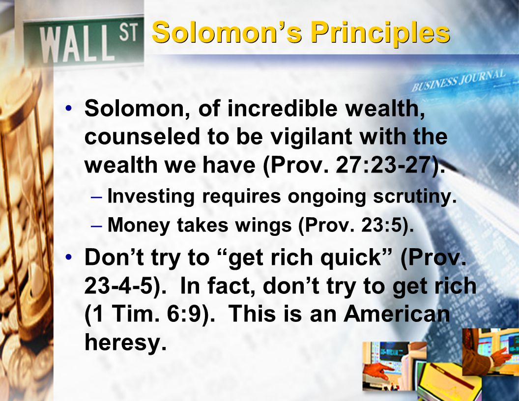 Pre-investment Principles The best investment is in God's Kingdom.