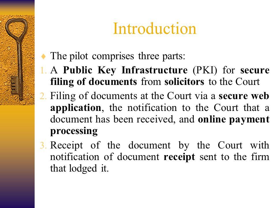 Introduction  The pilot comprises three parts: 1.