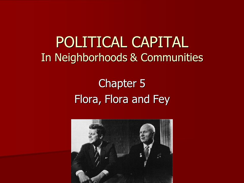 POLITICAL CAPITAL In Neighborhoods & Communities Chapter 5 Flora, Flora and Fey