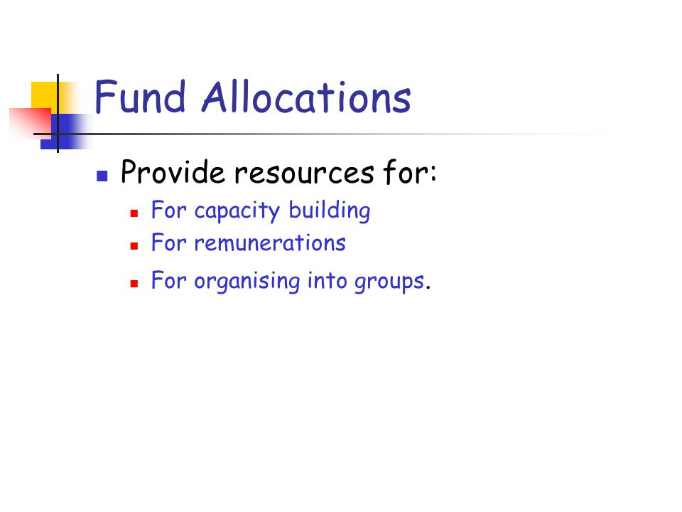 Fund Allocations Provide resources for: For capacity building For remunerations For organising into groups.