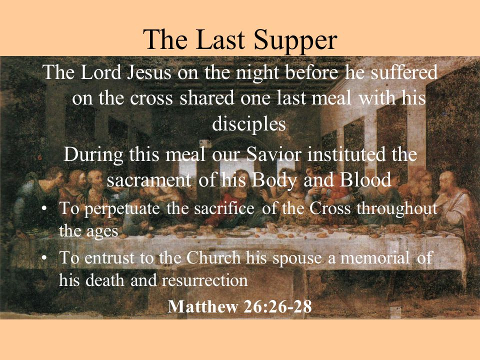 The Church Teaches Recalling these words of Jesus the Catholic Church professes that In the celebration of the Eucharist bread and wine become the body and blood of Jesus Christ through: the power of the Holy Spirit the instrumentality of the priest.
