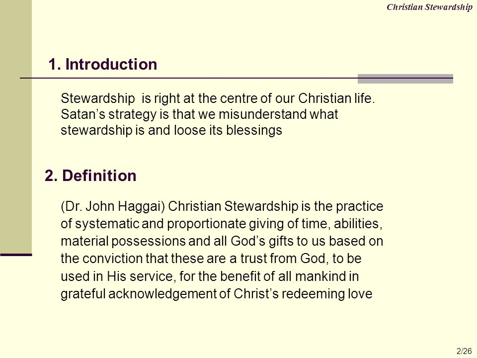 Christian Stewardship 23/26 27.What. Whom. and Why.