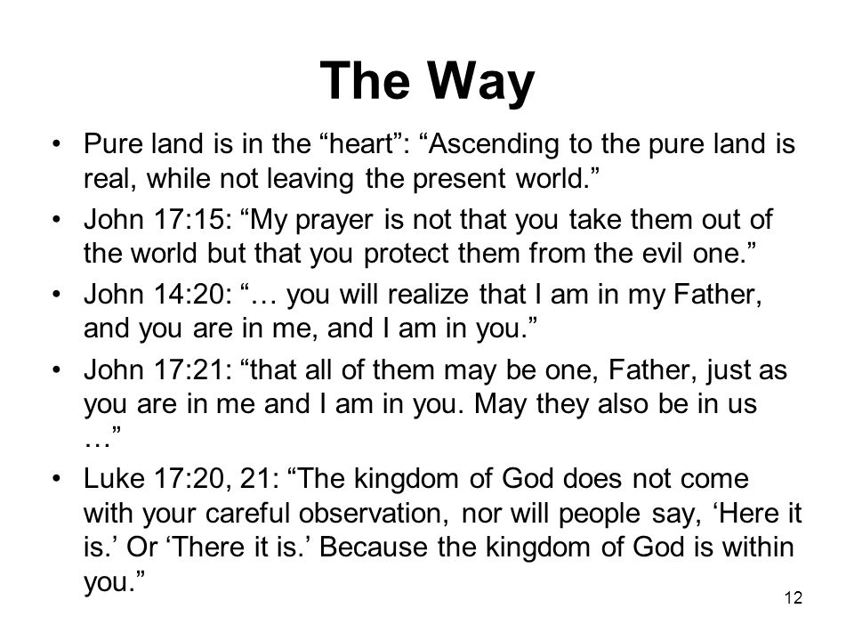 The Way Pure land is in the heart : Ascending to the pure land is real, while not leaving the present world. John 17:15: My prayer is not that you take them out of the world but that you protect them from the evil one. John 14:20: … you will realize that I am in my Father, and you are in me, and I am in you. John 17:21: that all of them may be one, Father, just as you are in me and I am in you.