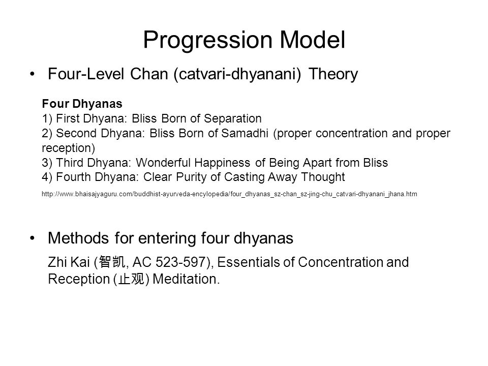 Progression Model Four-Level Chan (catvari-dhyanani) Theory Methods for entering four dhyanas Zhi Kai ( 智凯, AC 523-597), Essentials of Concentration and Reception ( 止观 ) Meditation.