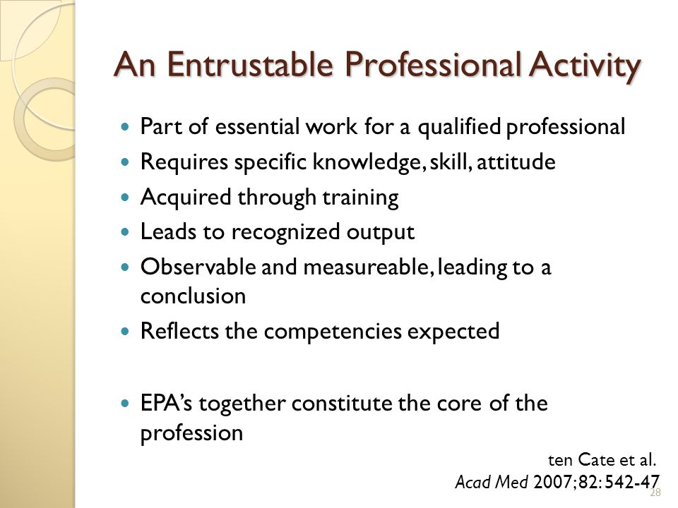 An Entrustable Professional Activity Part of essential work for a qualified professional Requires specific knowledge, skill, attitude Acquired through training Leads to recognized output Observable and measureable, leading to a conclusion Reflects the competencies expected EPA's together constitute the core of the profession ten Cate et al.