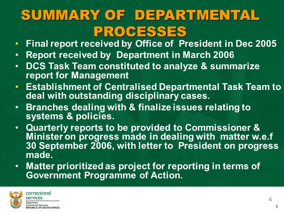 5 STATUS: IMPLEMENTATION OF RECOMMENDATIONS ON SYSTEMS & POLICIES 1.