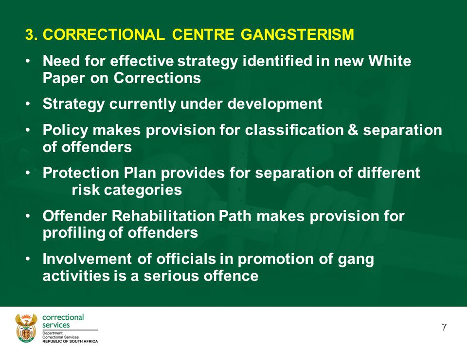 7 3. 3.CORRECTIONAL CENTRE GANGSTERISM Need for effective strategy identified in new White Paper on Corrections Strategy currently under development P