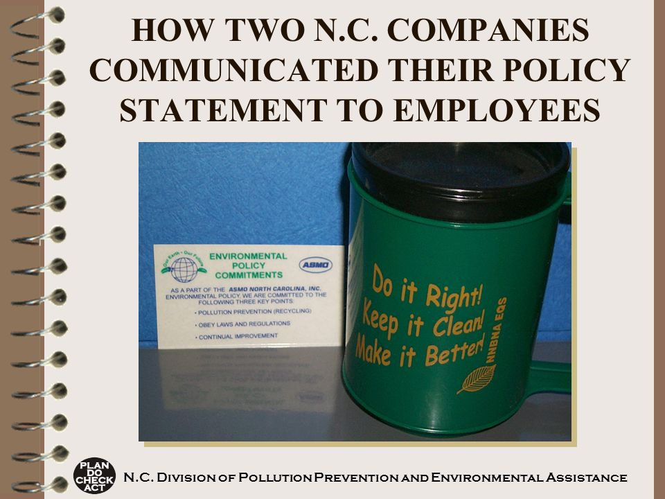 HOW TWO N.C. COMPANIES COMMUNICATED THEIR POLICY STATEMENT TO EMPLOYEES N.C.