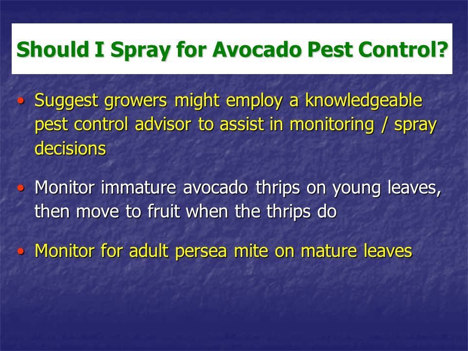 Should I Spray for Avocado Pest Control? Suggest growers might employ a knowledgeable pest control advisor to assist in monitoring / spray decisionsSu