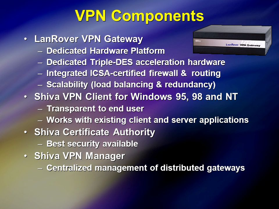 12 VPN Components LanRover VPN Gateway –Dedicated Hardware Platform –Dedicated Triple-DES acceleration hardware –Integrated ICSA-certified firewall & routing –Scalability (load balancing & redundancy) Shiva VPN Client for Windows 95, 98 and NT –Transparent to end user –Works with existing client and server applications Shiva Certificate Authority –Best security available Shiva VPN Manager –Centralized management of distributed gateways LanRover VPN Gateway –Dedicated Hardware Platform –Dedicated Triple-DES acceleration hardware –Integrated ICSA-certified firewall & routing –Scalability (load balancing & redundancy) Shiva VPN Client for Windows 95, 98 and NT –Transparent to end user –Works with existing client and server applications Shiva Certificate Authority –Best security available Shiva VPN Manager –Centralized management of distributed gateways