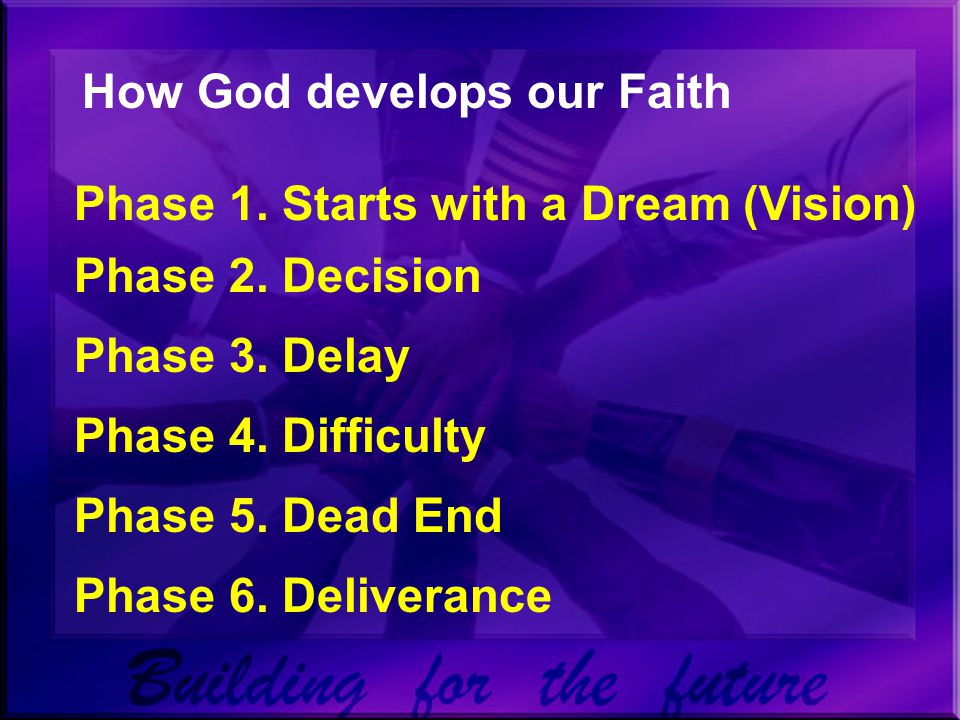 How God develops our Faith Phase 1. Starts with a Dream (Vision) Phase 2.