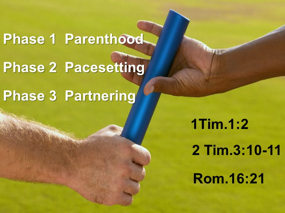 Phase 1 Parenthood Phase 2 Pacesetting Phase 3 Partnering 1Tim.1:2 2 Tim.3:10-11 Rom.16:21