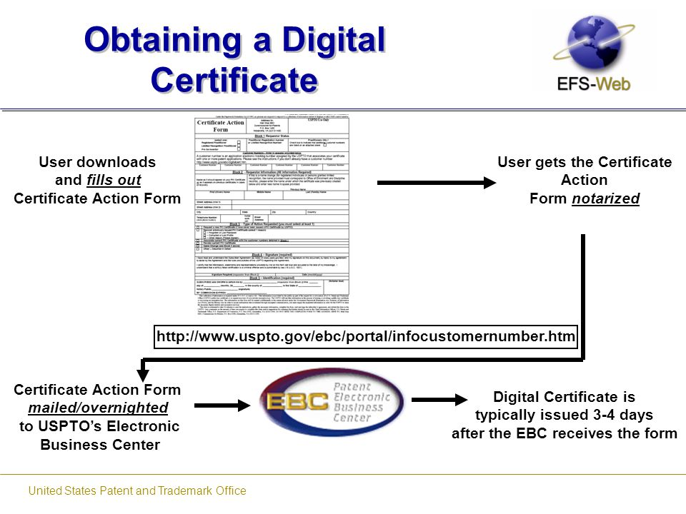 United States Patent and Trademark Office Obtaining a Digital Certificate User downloads and fills out Certificate Action Form User gets the Certifica
