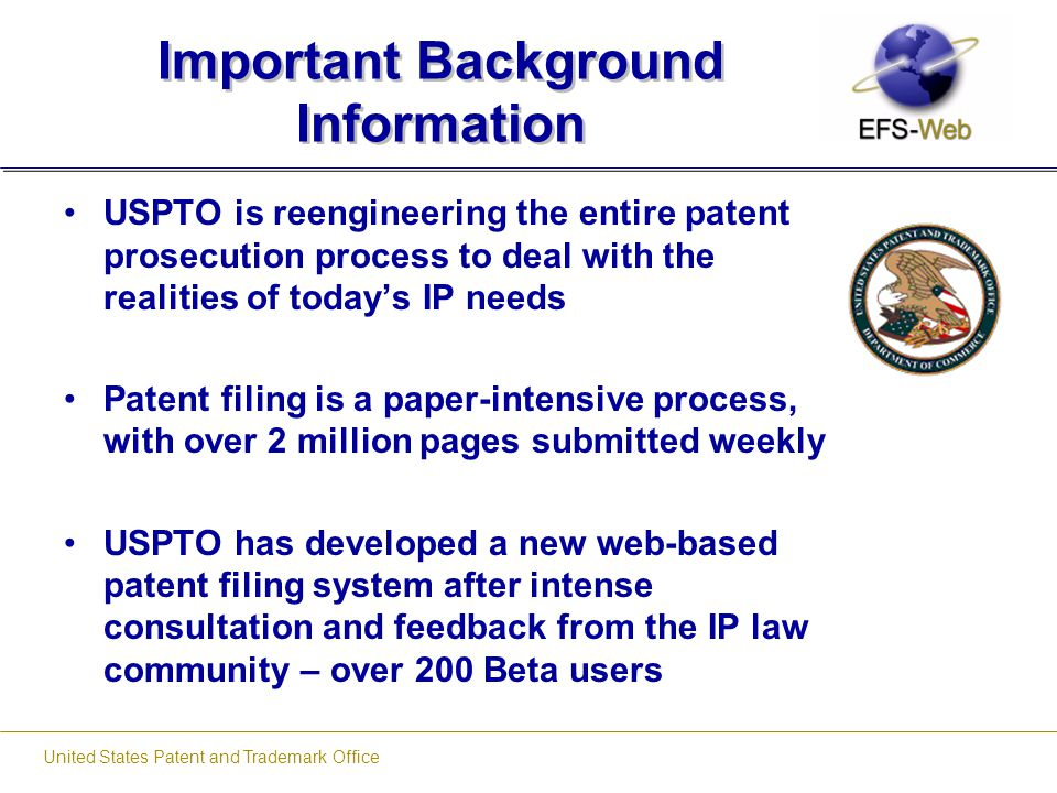 United States Patent and Trademark Office About PDF Files PDF Creation Tools that have been preliminarily tested by USPTO: –ABXPDF No configuration required Available free on www.USPTO.gov –Adobe Professional –Open Office –Easy Office –Cute PDF –PDF 995 –Primo PDF –Amyuni PDF Converter Pro PDF