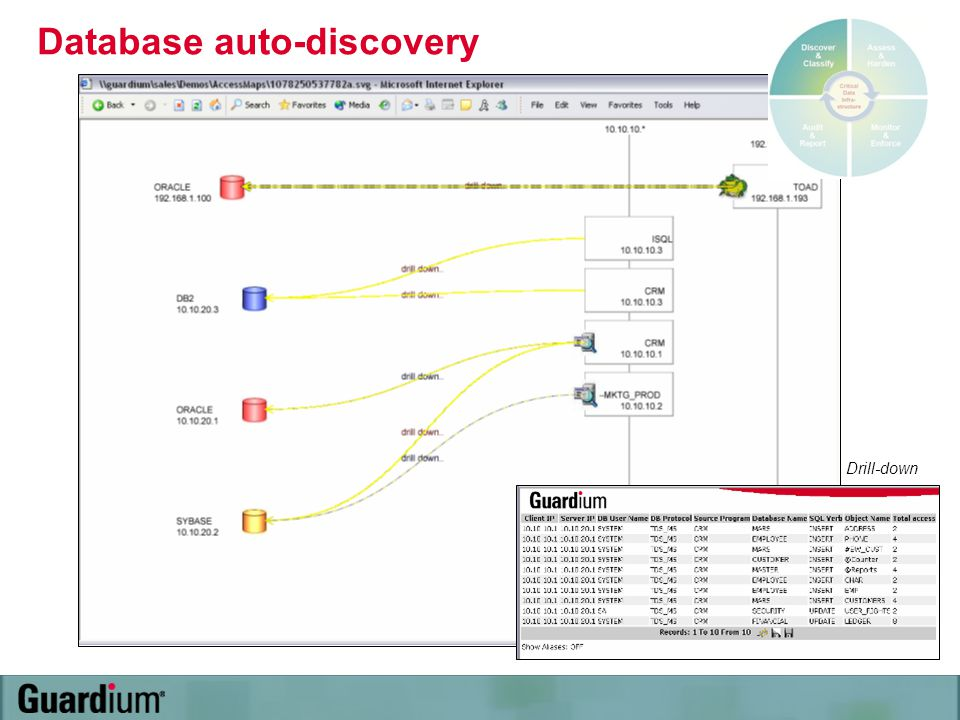 Database auto-discovery Drill-down