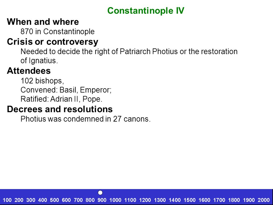Constantinople IV When and where 870 in Constantinople Crisis or controversy Needed to decide the right of Patriarch Photius or the restoration of Ignatius.