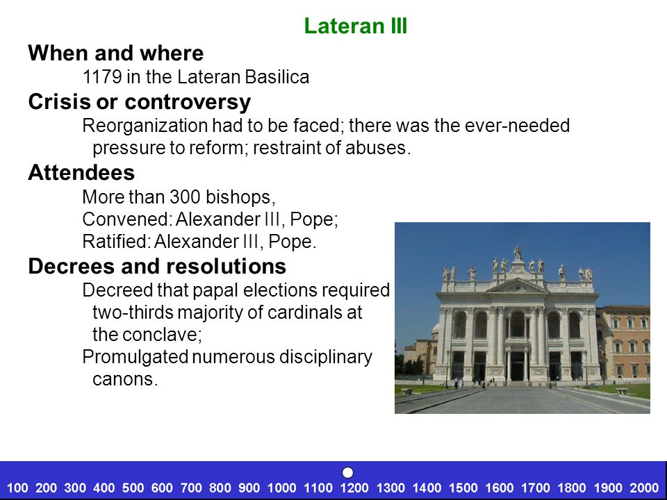 Lateran III When and where 1179 in the Lateran Basilica Crisis or controversy Reorganization had to be faced; there was the ever-needed pressure to reform; restraint of abuses.