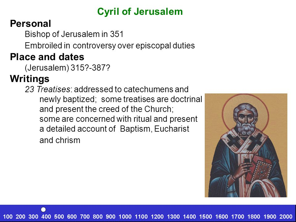 Cyril of Jerusalem Personal Bishop of Jerusalem in 351 Embroiled in controversy over episcopal duties Place and dates (Jerusalem) 315 -387.