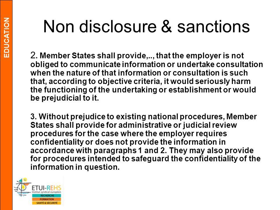 EDUCATION Non disclosure & sanctions 2.
