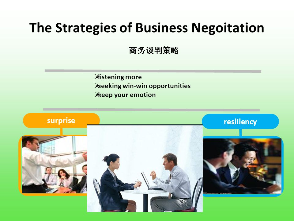 The Strategies of Business Negoitation surprise resiliency even the best negotiation make mistakes ineviably 商务谈判策略  listening more  seeking win-win